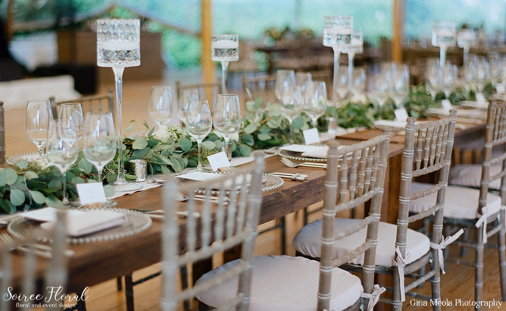 Hammered Floating Candles with Garland Nantucket Wedding Soiree Floral 15