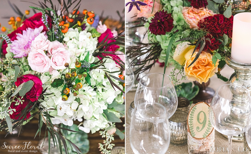 Lush and Wild Floral Design with Rose Hips and Dahlias_Birch Log Table Names Soiree Floral 9