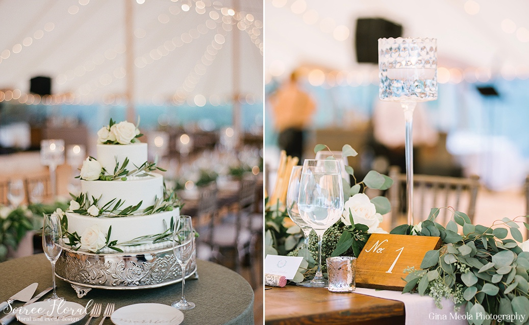 Olive Leaf and Rose Cake and Wooden Table Numbers Nantucket Wedding Soiree Floral 18