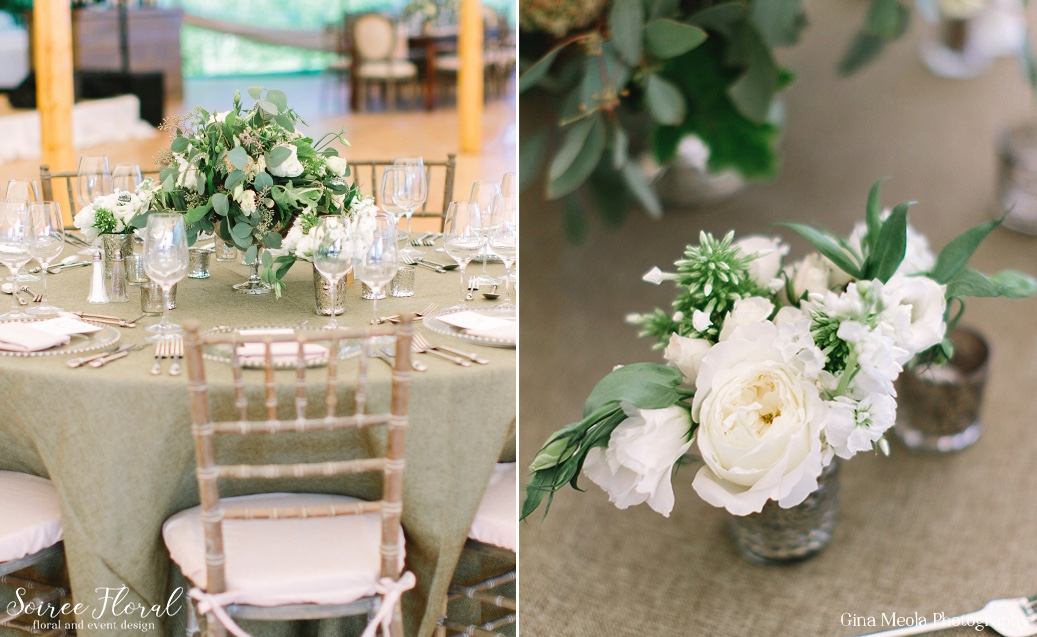 Silver Julep Cup Centerpiece and Wooden Lantern Wedding