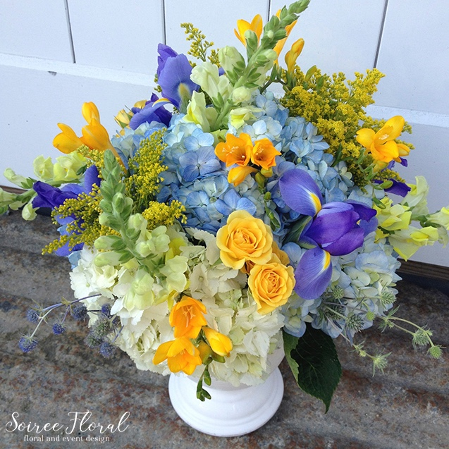 Blue and Yellow Floral Arrangement – Nantucket Florist – Soiree Floral