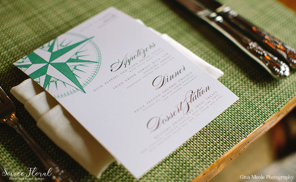 Compass Rose Rehearsal Dinner Menu Nantucket Dawn Kelly Designs 5