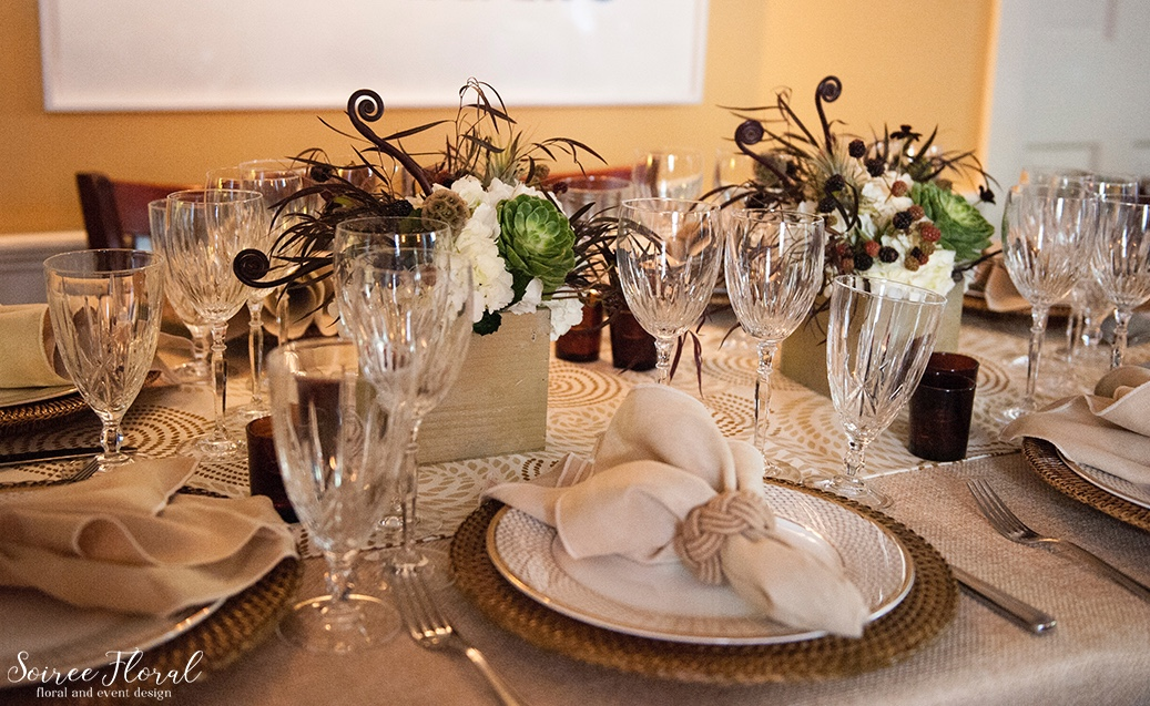 Masculine and Rustic Centerpieces Nantucket LeLanguedoc Soiree Floral 2