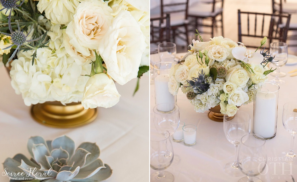 White-Cream-Ivory-Centerpiece-Gold-Compote-Orchids-Roses-Hydrangea 13