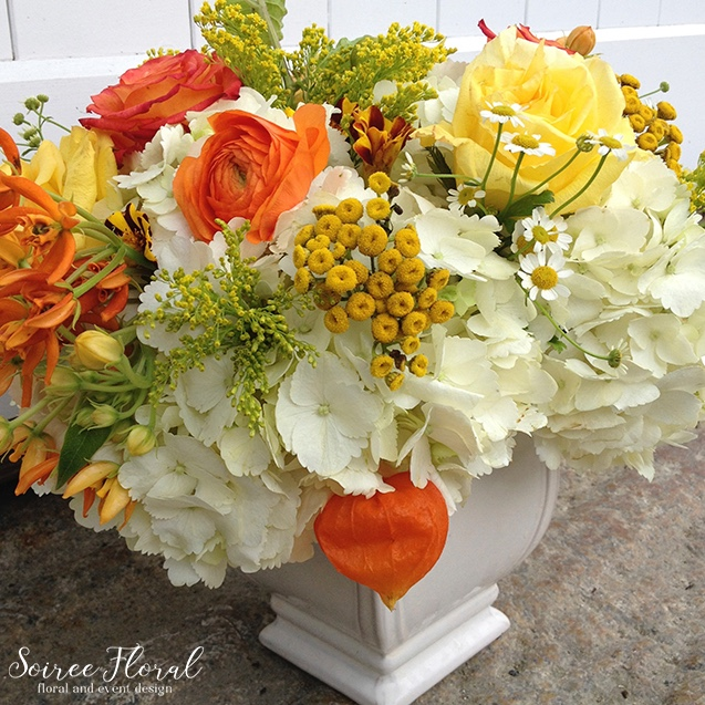 Yellow White and Orange Floral Delivery – Nantucket Flowers – Soiree Floral