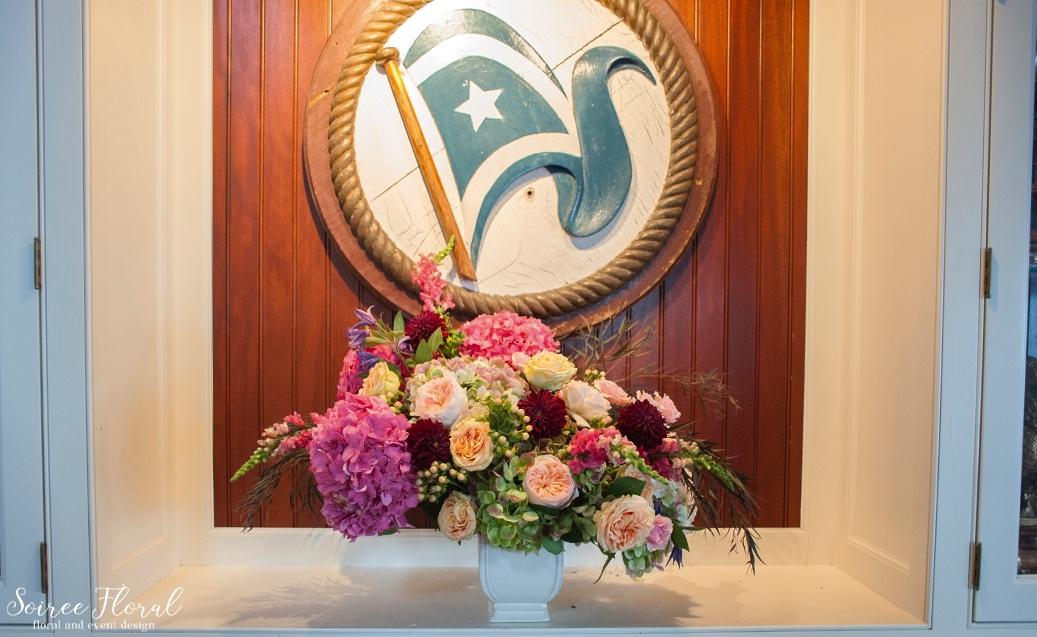 Asymmetrical Urn Arrangement – Dahlias Hydrangea Roses – Soiree Floral Nantucket