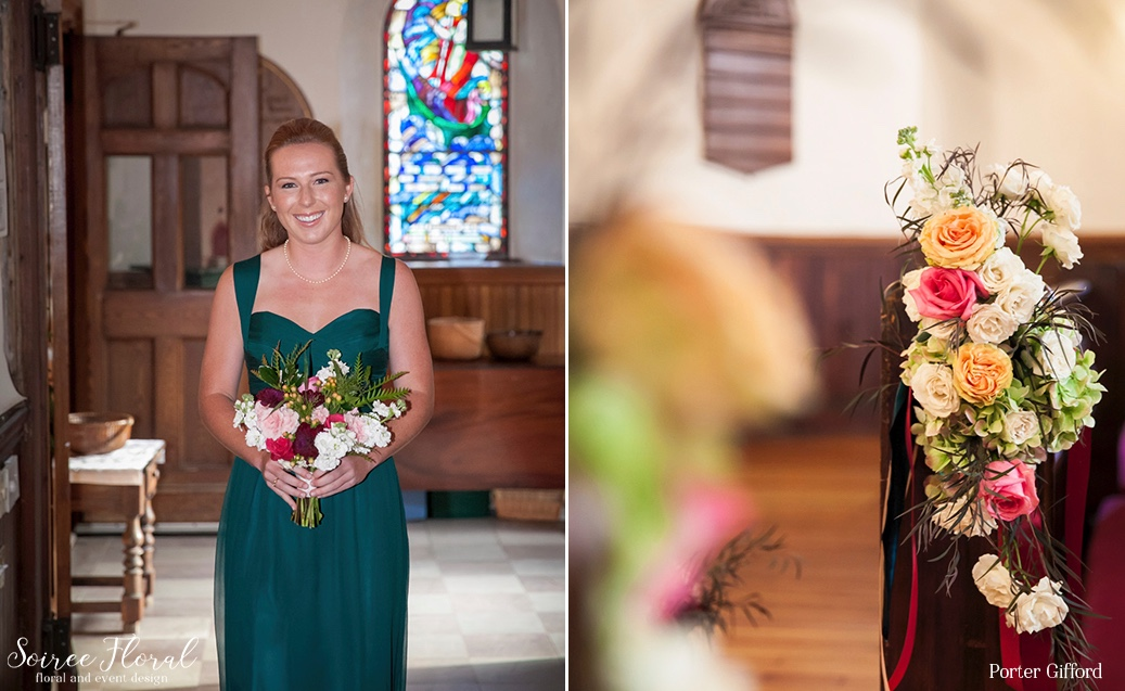 Burgundy Green and Wild Bridesmaid Bouquet – Soiree Floral – Nantucket Wedding
