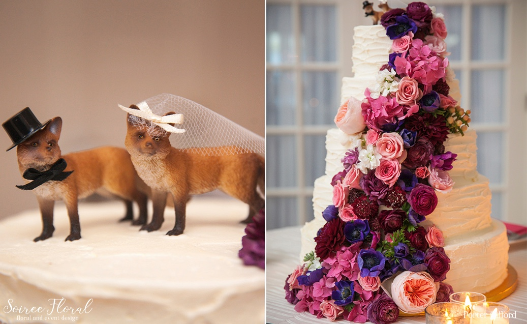 Floral Cascade Wedding Cake with Fox Topper – Soiree Floral Nantucket