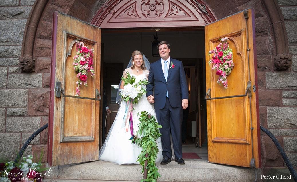 Garland on Church Railings – Nantucket Wedding – Colorful Fall Wedding – Soiree Floral