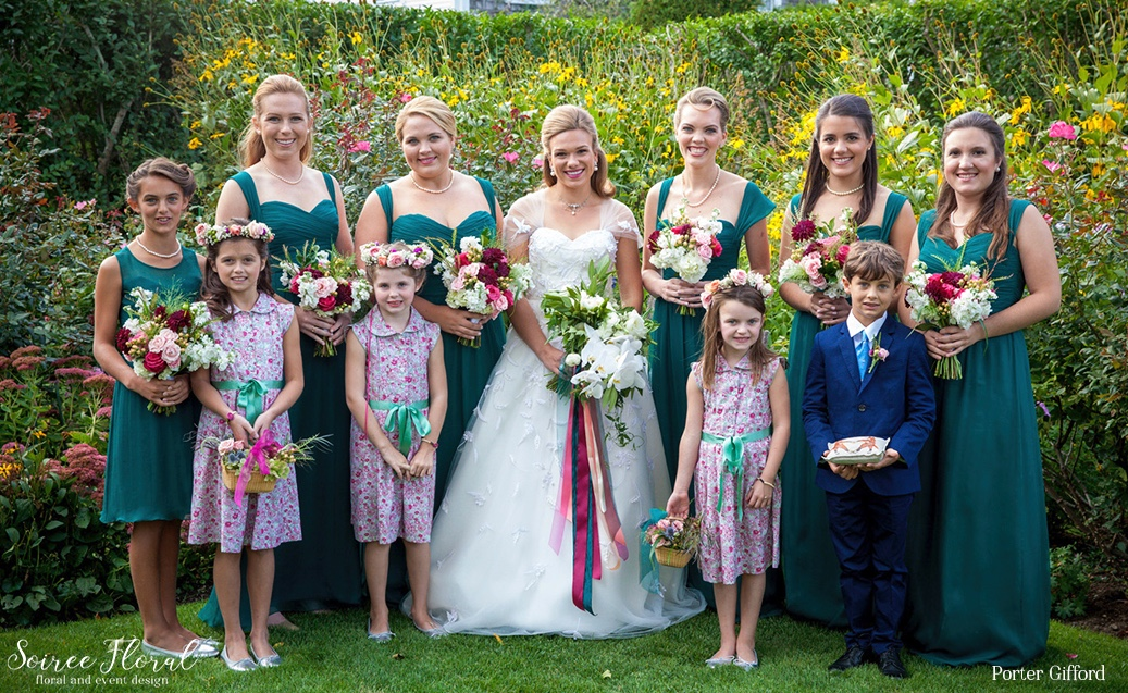 Jewel Toned Bridesmaids Gowns with Lush Bouquets – Soiree Floral Fall Nantucket Wedding