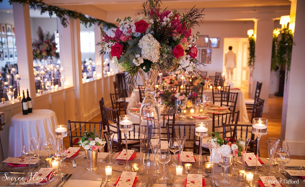 Lush Tablescape with Silver Accents – Nantucket Wedding Soiree Floral
