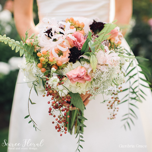 Garden Rose Scabiosa Fall Wedding Bouquet