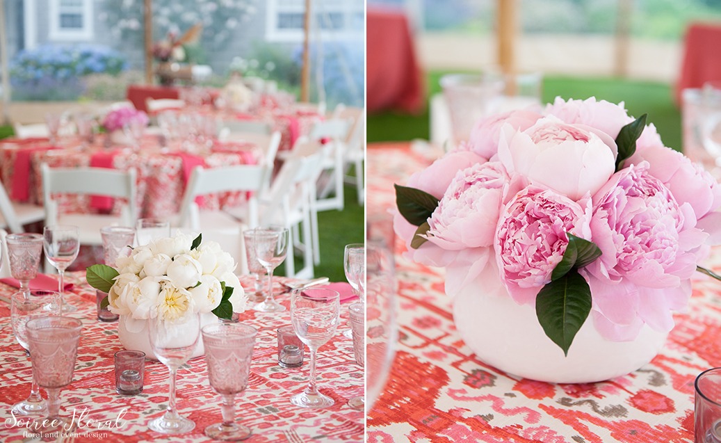 Nantucket Cocktail Party – Peony Centerpiece – Pink and White
