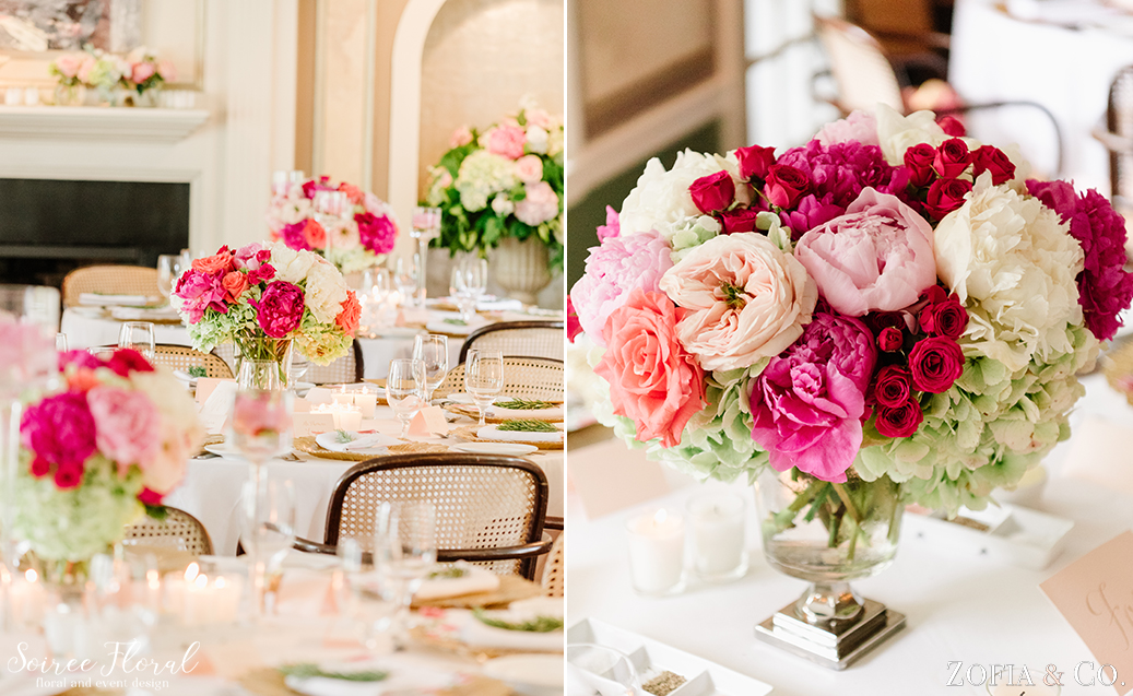 Chanticleer Nantucket Wedding – Peony Centerpiece
