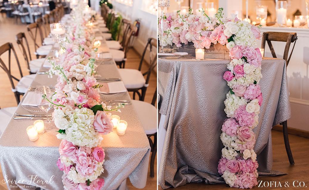 Floral Runner – Blush and White – Nantucket Wedding
