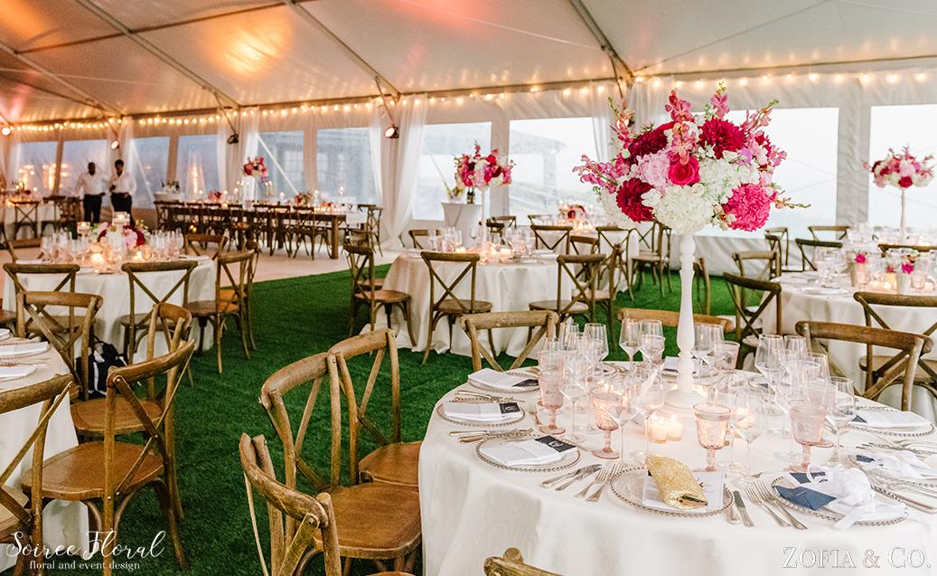 Pink White Wedding Flowers – Tented Wedding – Nantucket