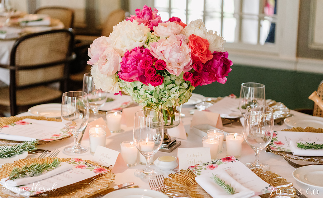 Pink and Green Peony Centerpiece – Nantucket Wedding