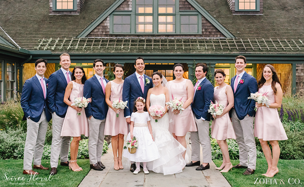 Pink and Navy Nantucket Bridal Party – Soiree Floral