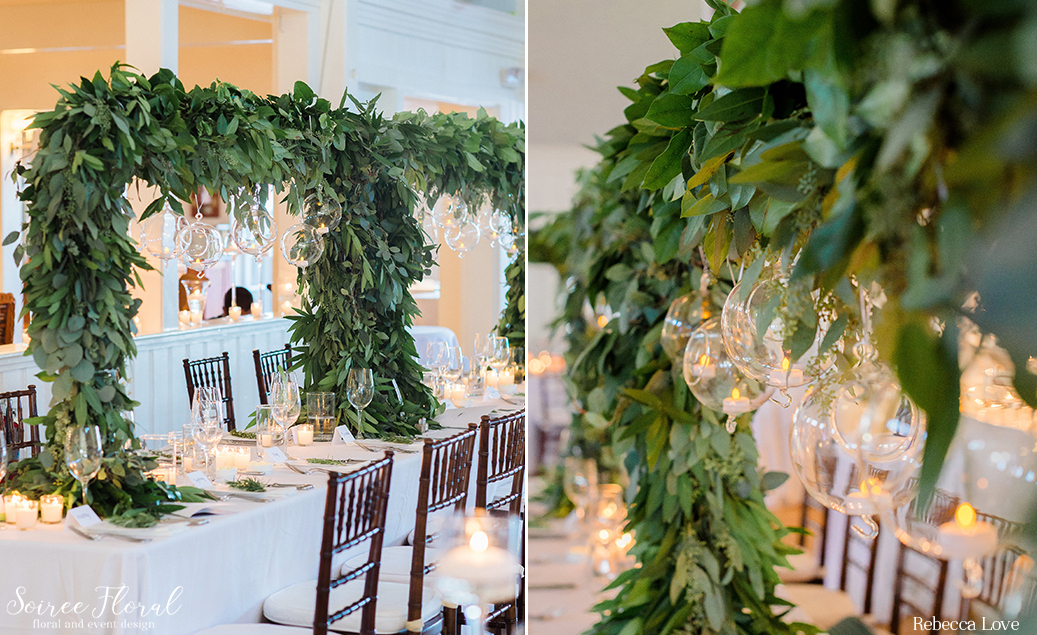 Tabletop Greenery Trellis Nantucket Yacht Club