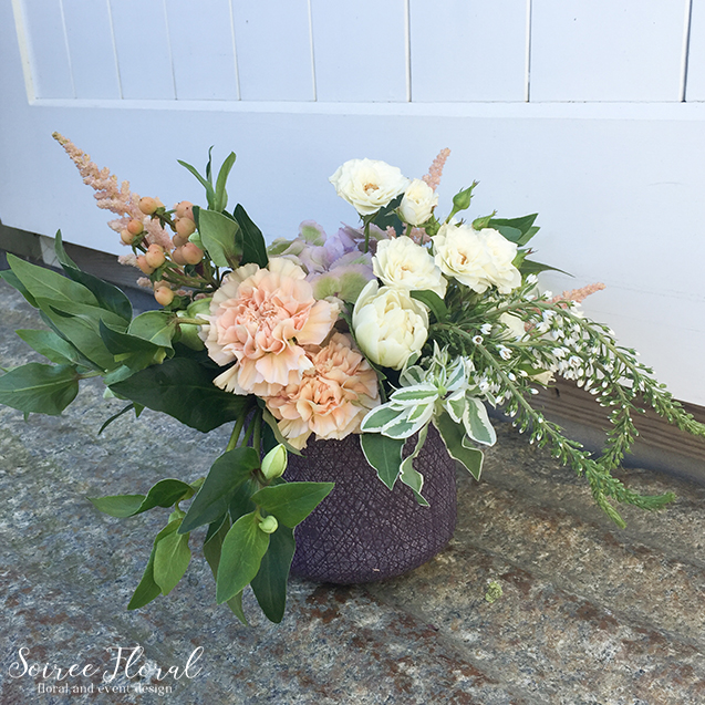 Peach White Green Arrangement