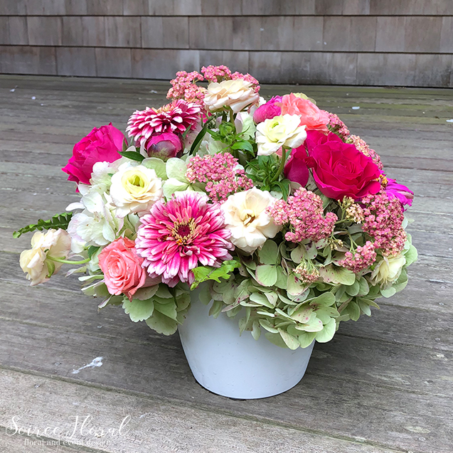 Pink White Green Summer Arrangement