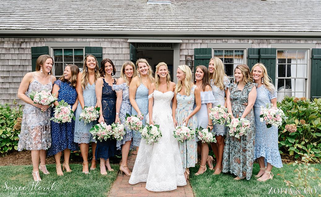 Blue Bridesmaids – Nantucket Wedding – Soiree Floral – Zofia Photo