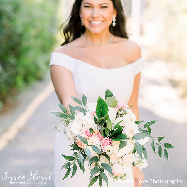 bridal bouquet blush white green