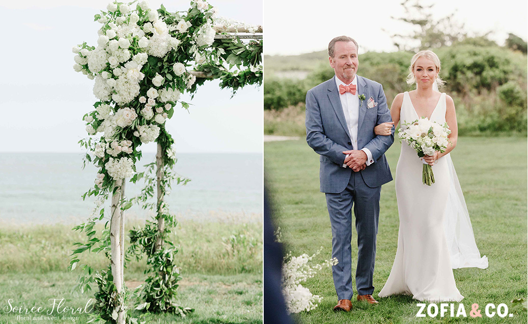 bride and father at nantucket outdoor wedding