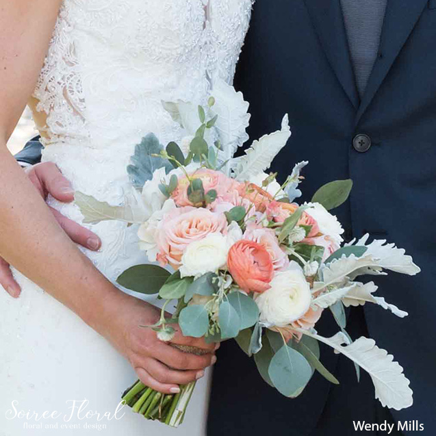 fall nantucket bridal bouquet peach silver white