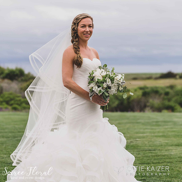 nantucket bridal bouquet green white