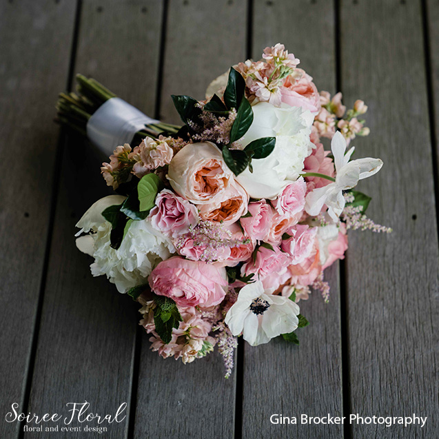 peach garden rose peony bouquet