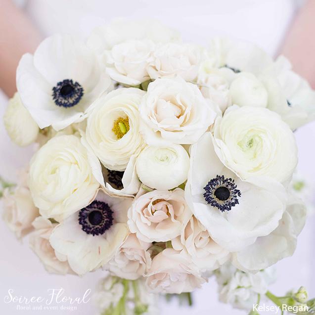 ranuncula anemone garden rose bridal bouquet