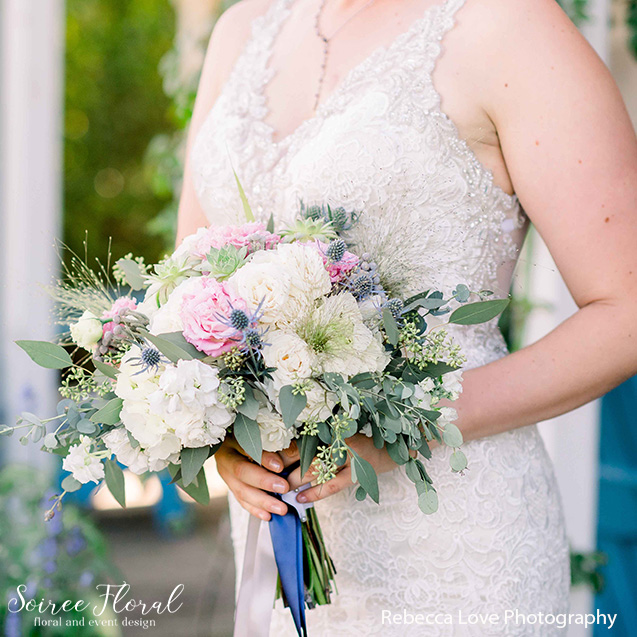 summer garden style bouquet pink blue green