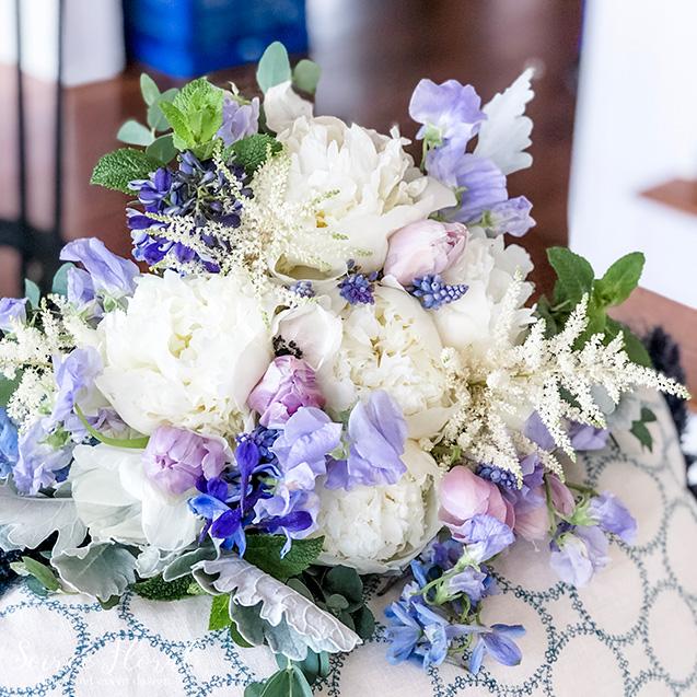 white peony lavender sweetpea bouquet
