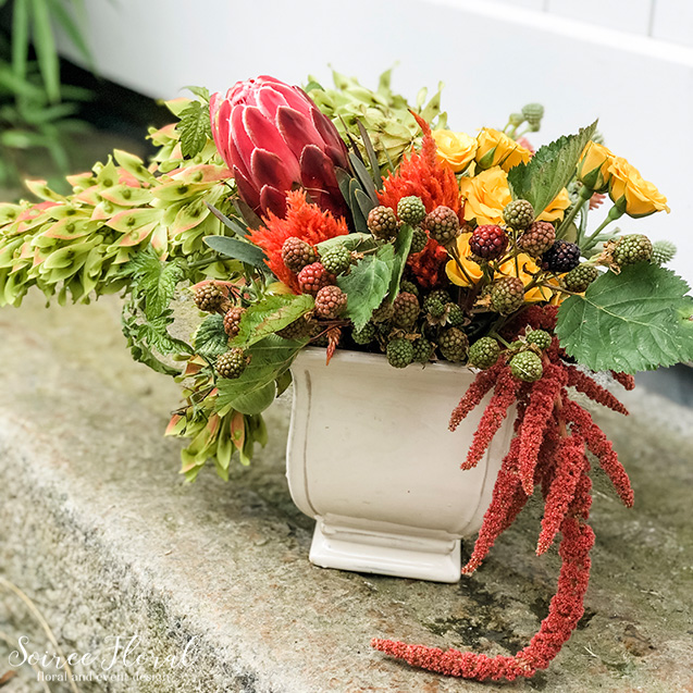 berry and rust centerpiece