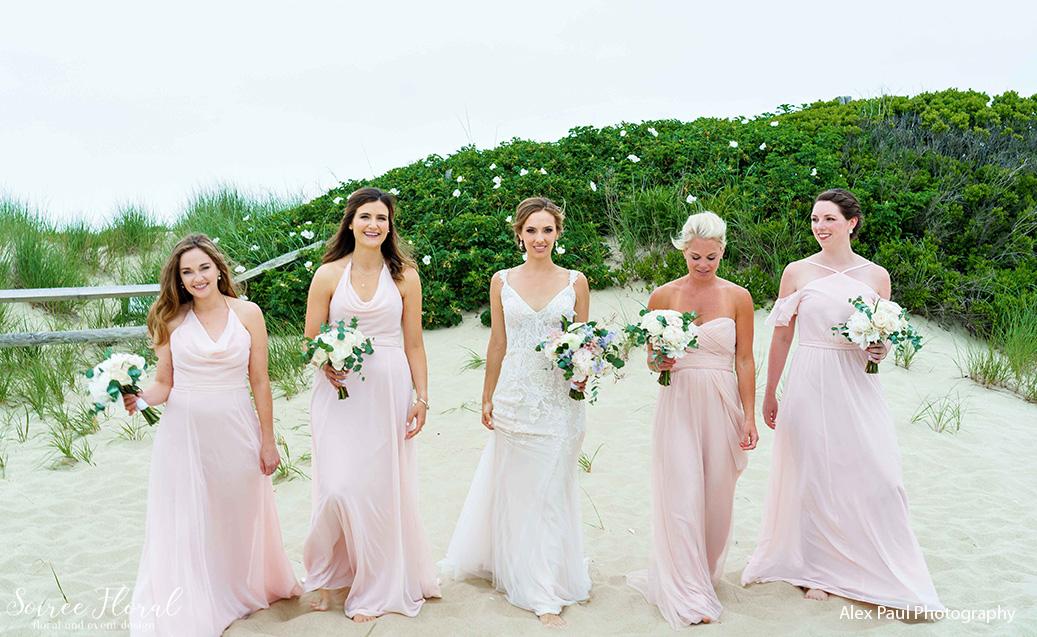 blush bridesmaids beach