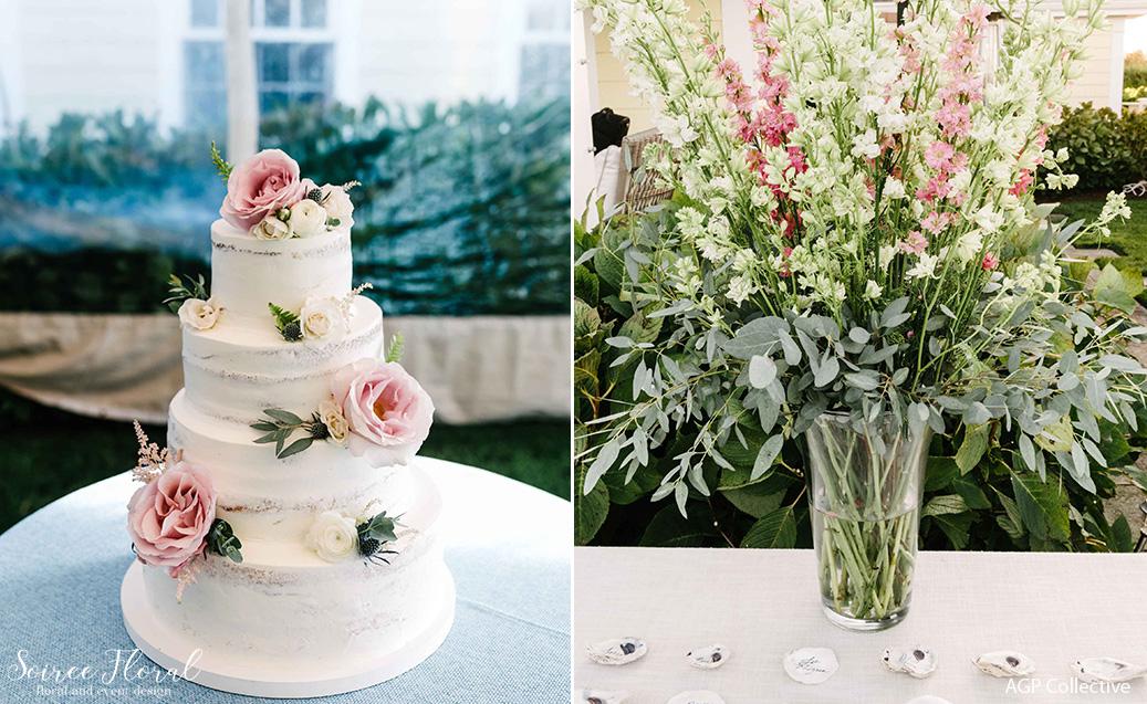 blush cake flowers