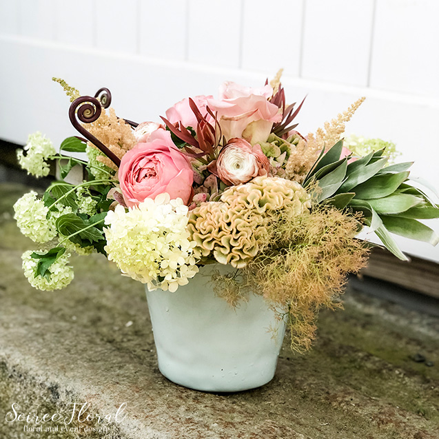 blush rust silver centerpiece