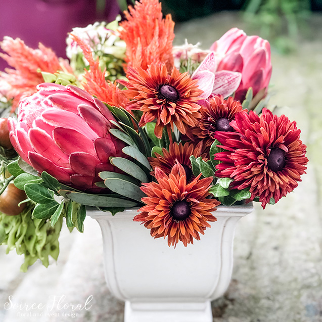 coral and rust bouquet