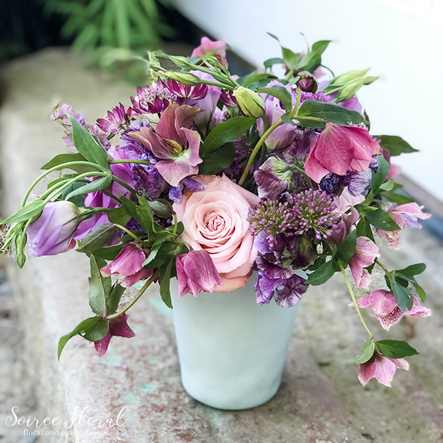 lavender plum centerpiece