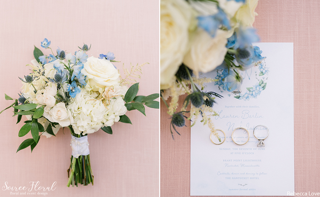 Garden-Style Bridal Bouquet by Soiree Floral in Whites and Blues with Greenery