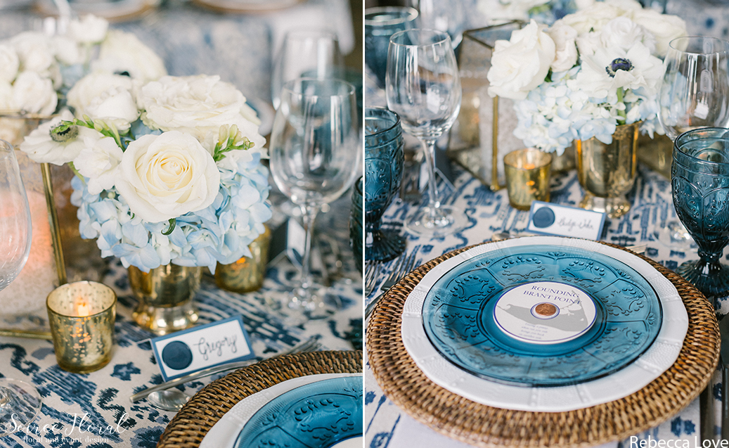 Tablescape in bright blues and whites with gold accents. Rentals by Placesetters. Photo by Rebecca Love Photography.