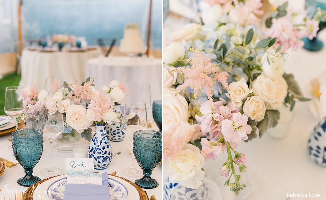 blush blue tablescape