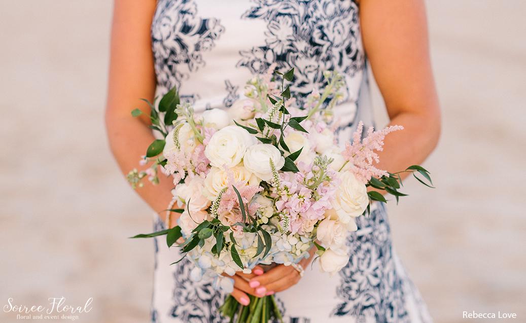 blush bouquet blue dress