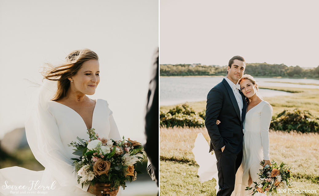 Boho Chic Micro Wedding Bridal Bouquet and Bride and Groom outdoor portrait. Photo by 309 Productions.
