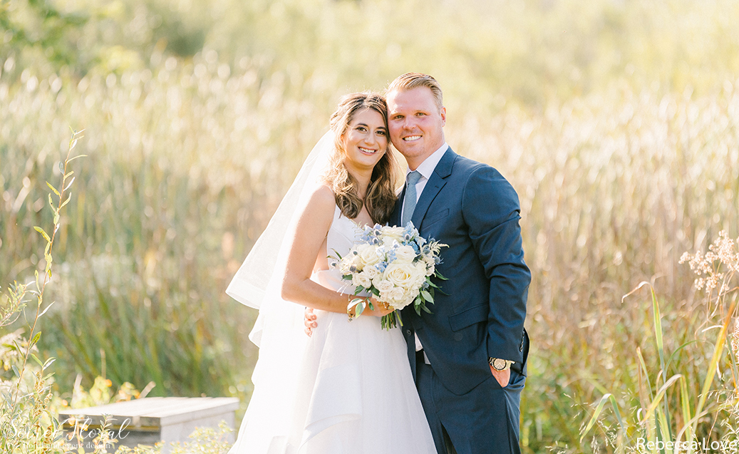 Bride and Groom Portrait at Nantucket Lily Pond