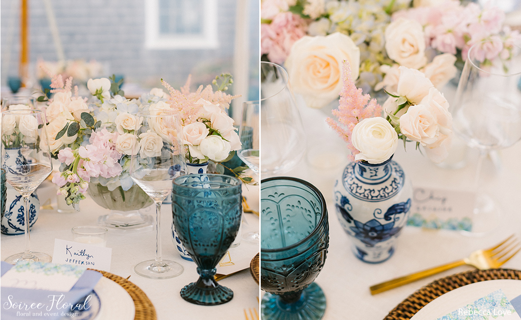 Micro Wedding Tablescape, centerpiece in compote vase, chinoiserie bud vases, blue goblet.