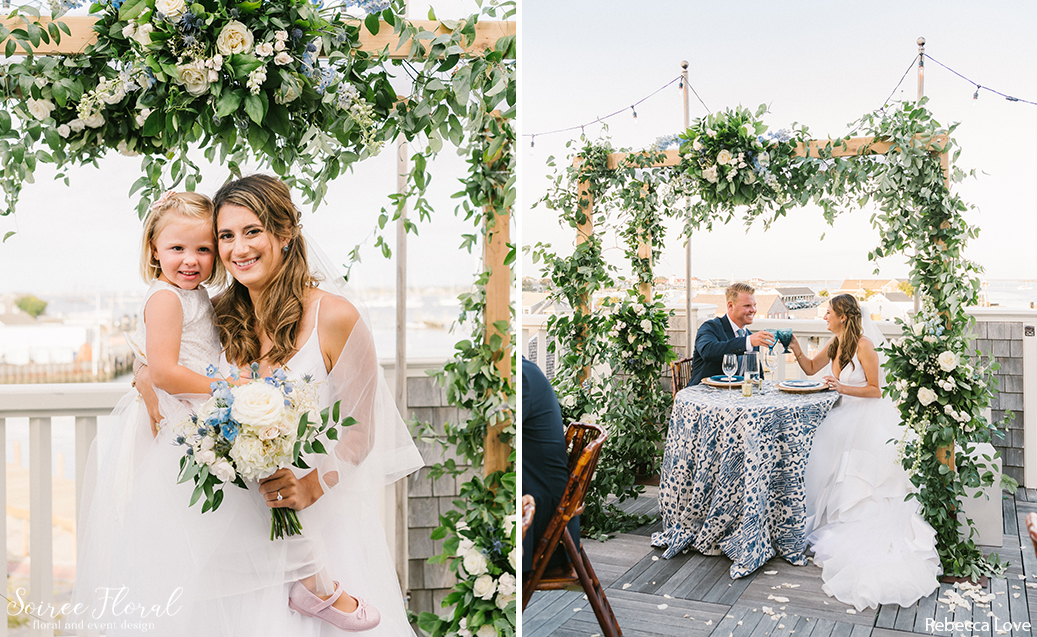 Bride, Groom, and Flower Girl under Chuppah on Dreamland Deck. Photo by Rebecca Love Photography