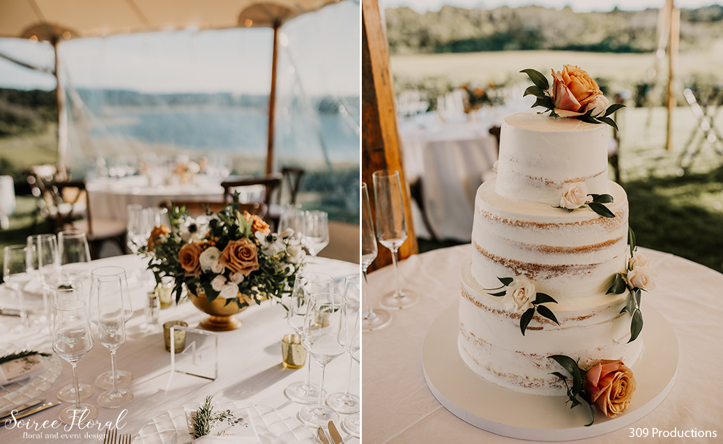 Boho Chic Micro Wedding. Lush centerpiece in gold compote vase with fall tones. Naked wedding cake with bronze blooms by 45 Surfside. Photo by 309 Productions.