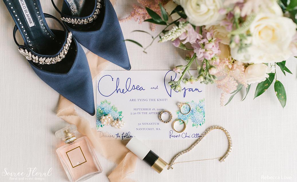 Hydrangea Invitation, Bridal Bouquet, Perfume, and Manolo Blahnik Bridal Shoes